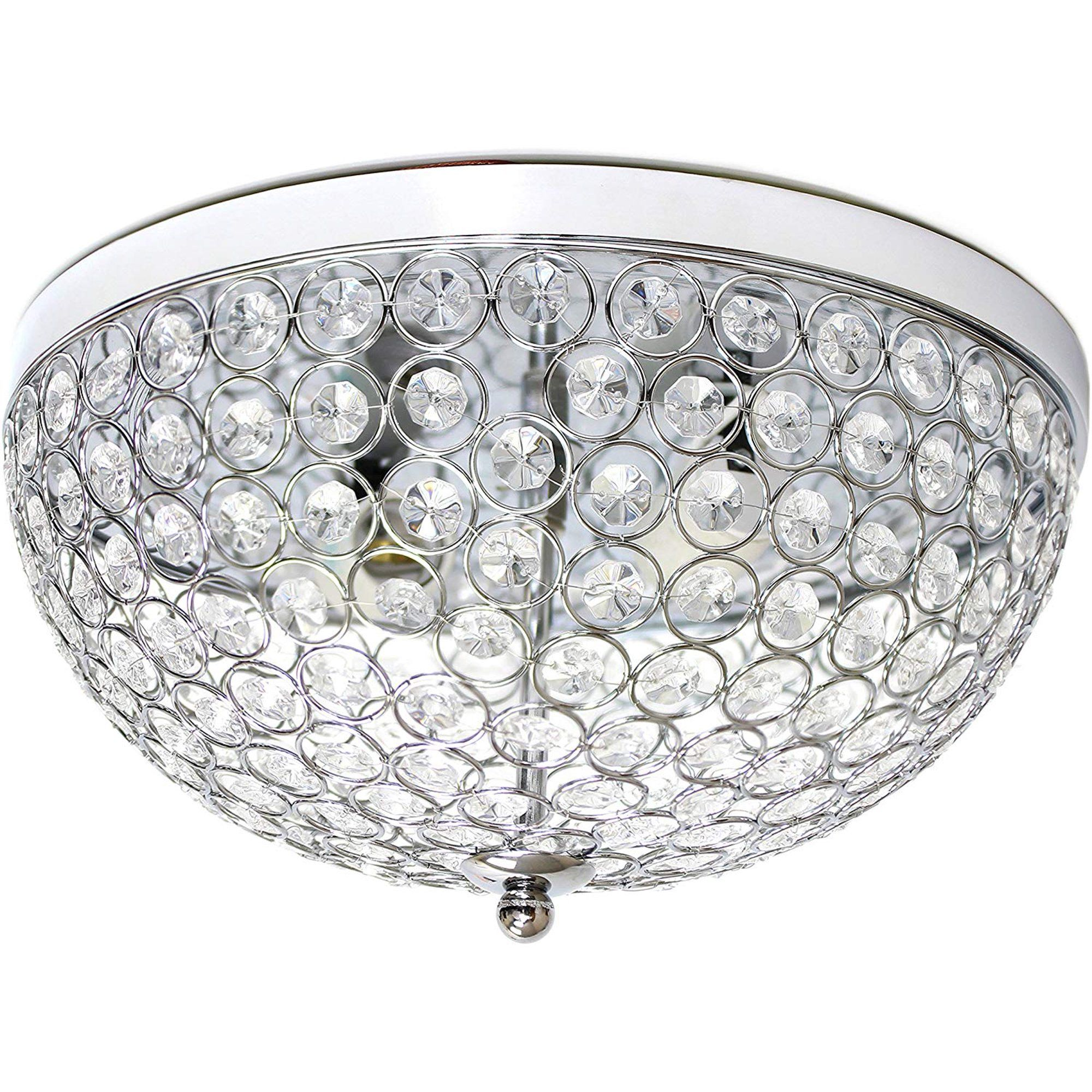 2 Light Modern Silver Chic Crystal Flush Mount Ceiling Fixture Walmart Com In 2020 Silver Chic Ceiling Fixtures Flush Mount Ceiling