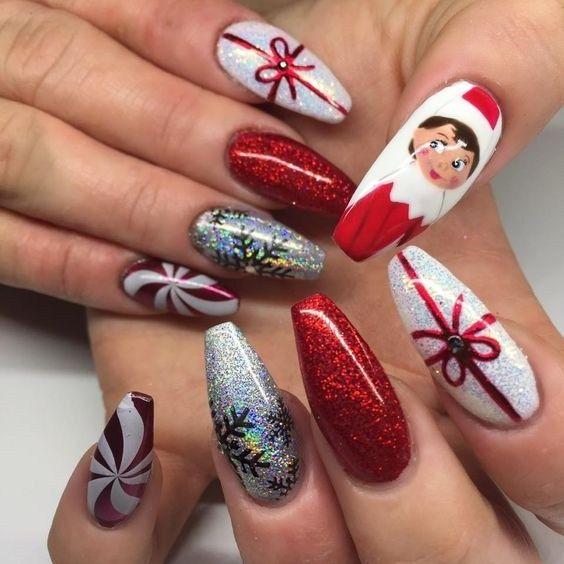 Top 55 Christmas Nail Art Design For Christmas Party 2019 Trendy Nail Art Designs Christmas Nail Art Designs Nail Art Designs