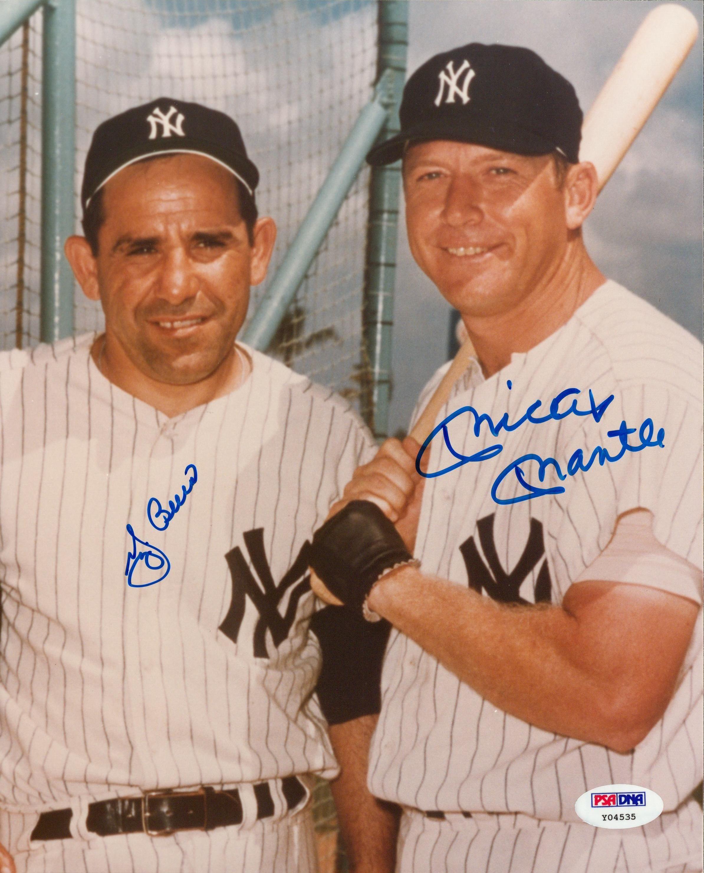 Lot Detail Mickey Mantle And Yogi Berra Dual Signed 8x10 Color Photograph Psa Dna Mickey Mantle Yogi Berra New York Yankees