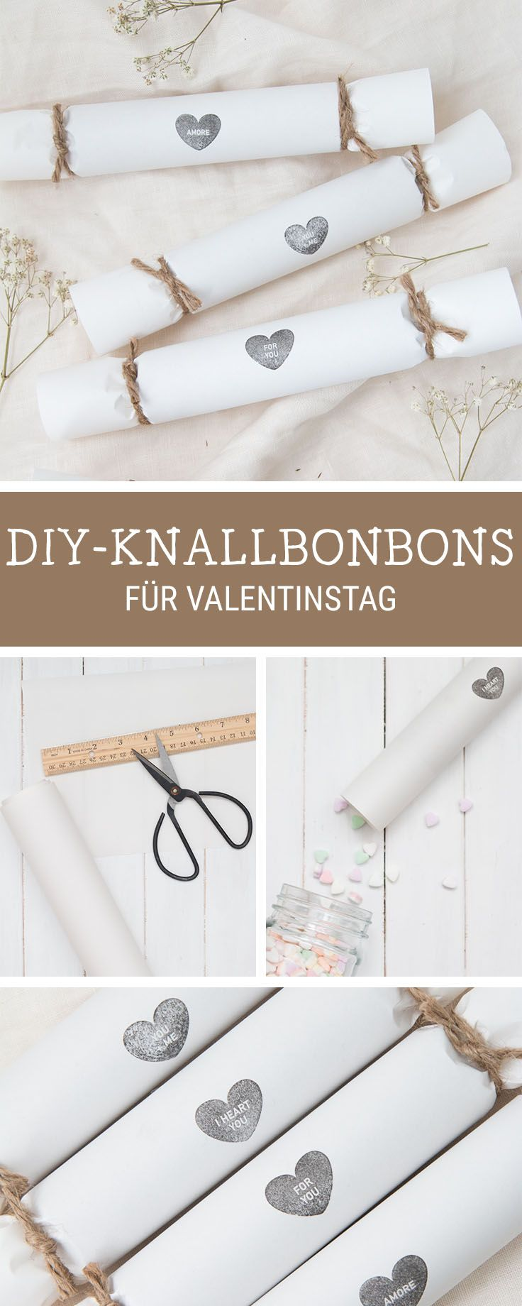 diy anleitung knallbonbons f r den valentinstag selber machen via pinterest. Black Bedroom Furniture Sets. Home Design Ideas