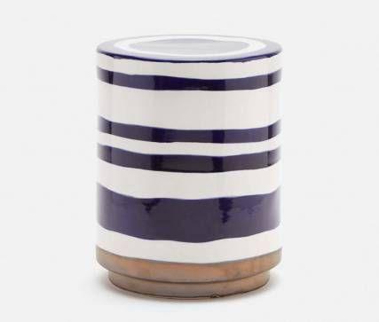 Lindor Blue And White Striped Ceramic Stool Mecox Gardens Ceramic Stool Outdoor Stools Blue Ceramics