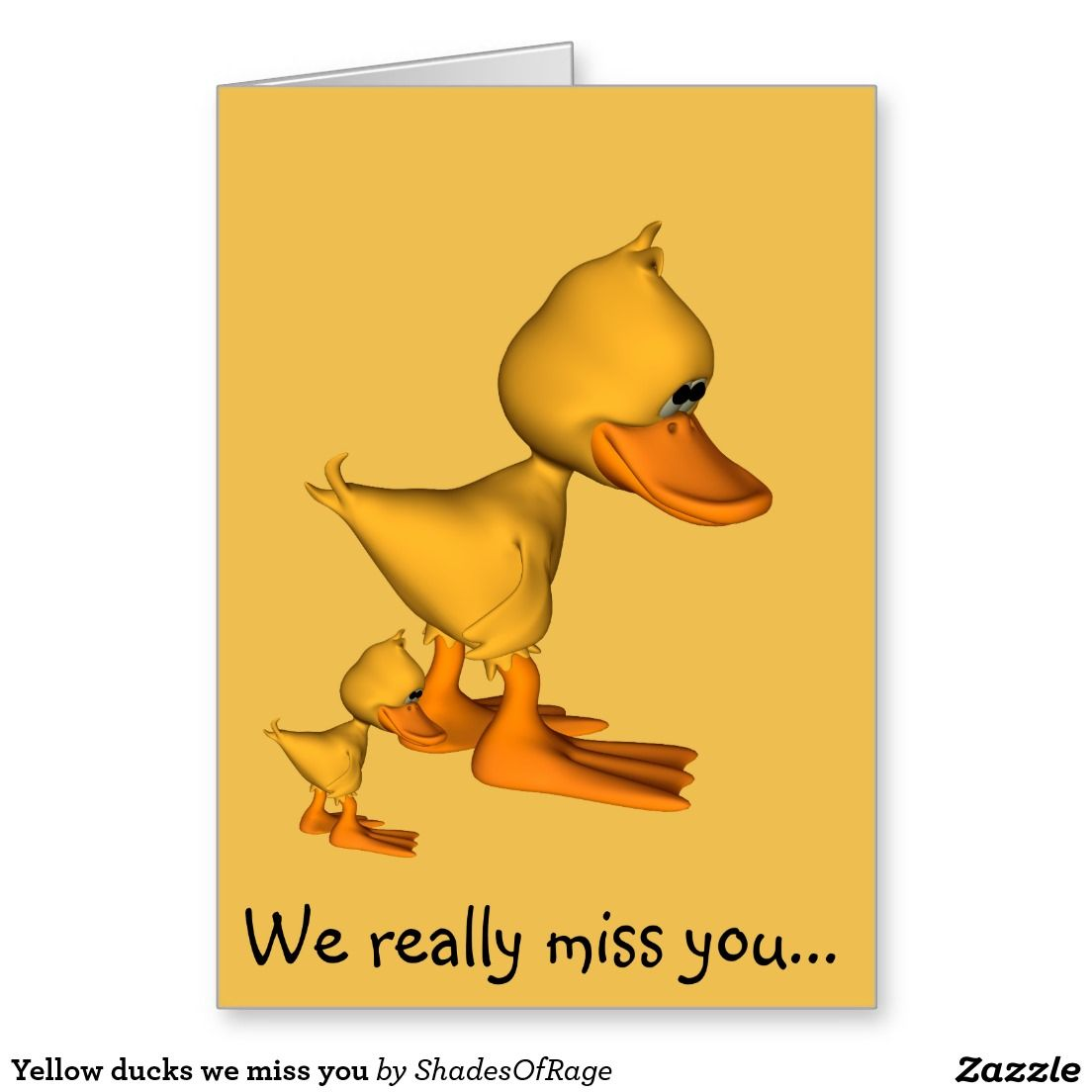 Sad Yellow Ducks We Miss You Card Cards