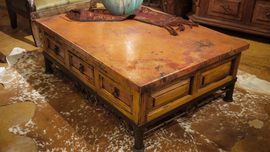 mariquita copper coffee table by the rustic gallery of san antonio tx this coffee table. Black Bedroom Furniture Sets. Home Design Ideas