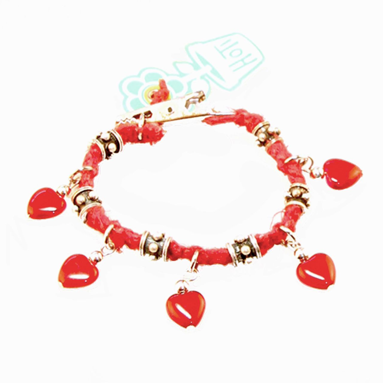 Sunshine On A Cloudy Day  Hoti Hemp I Heart Rock Red Handmade Glass Charm  Bracelet
