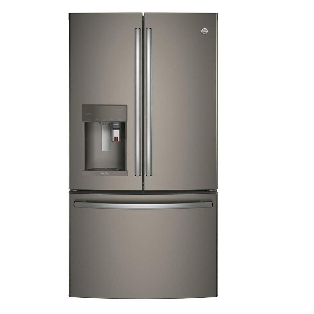 Ge Profile 27 8 Cu Ft Smart French Door Refrigerator With Keurig K Cup In Slate Fingerprint Resistant And Energy Star Pfe28pmkes The Home Depot French Door Refrigerator French Doors Counter Depth French