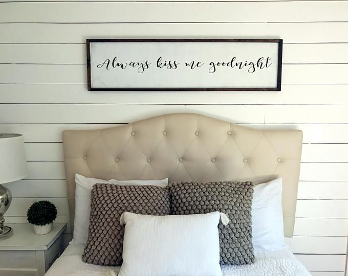 Always Kiss Me Goodnight Sign Bedroom Rustic Farmhouse Decor Wooden Framed Wall