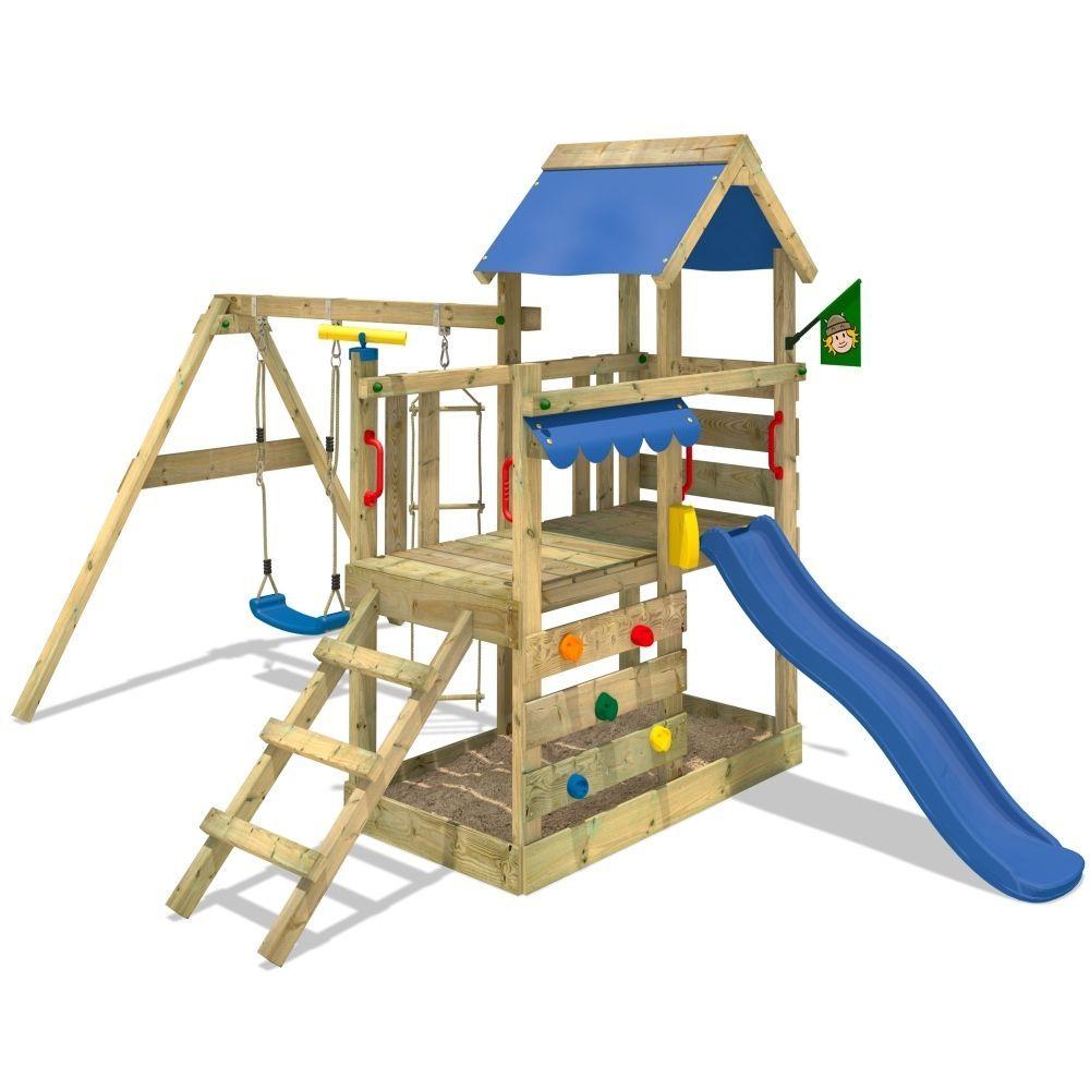 Wickey Spielturm Klettergerust Turboflyer Mit Schaukel Und Blauer Rutsche Ebay Spielturm Kletterturm Wickey Spielturm