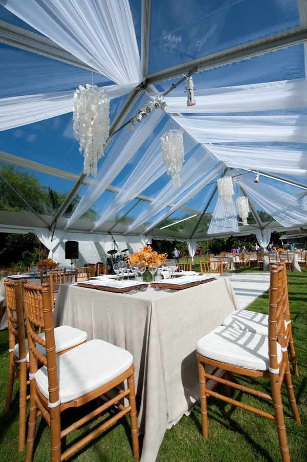 Natural Chiavari Chairs At A 48 Quot X48 Quot Square Table Under A