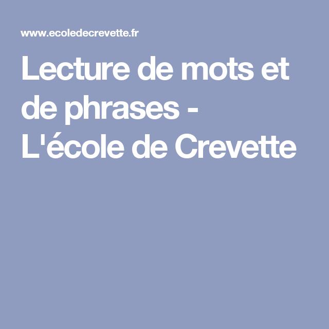 Lecture de mots et de phrases - L'école de Crevette