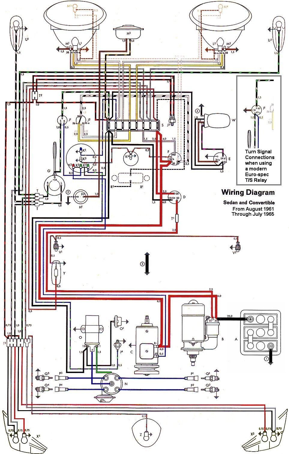 wiring diagram vw beetle sedan and convertible 1961 1965 vw rh pinterest com VW Bug Alternator Wiring VW Bug Starter Wiring