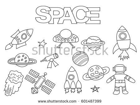 Space Elements Hand Drawn Set Coloring Book Template Outline Doodle Vector Illustration Kids Game Page
