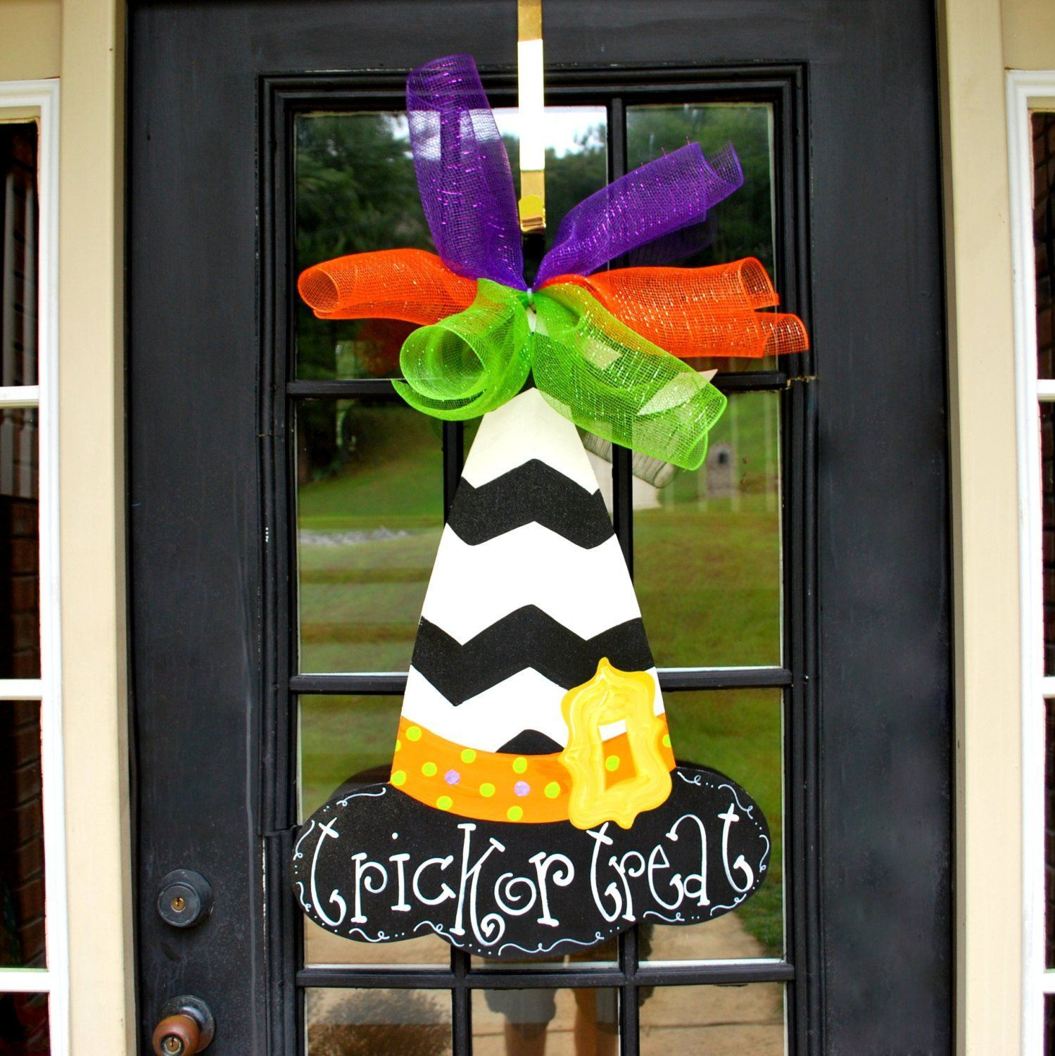 Witch Hat Door Hanger, Halloween Door Hanger, Witch Wreath - Halloween Door Decoration Ideas