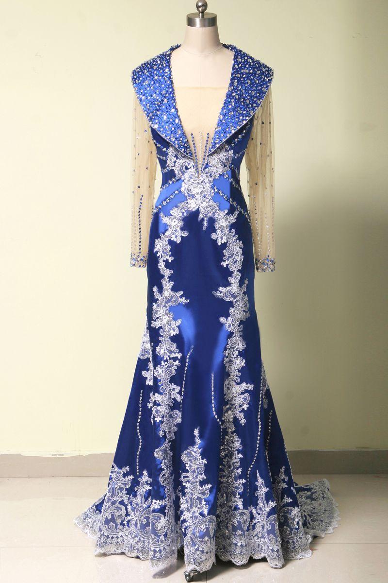 Long sleeve royal blue evening dress long evening gowns long