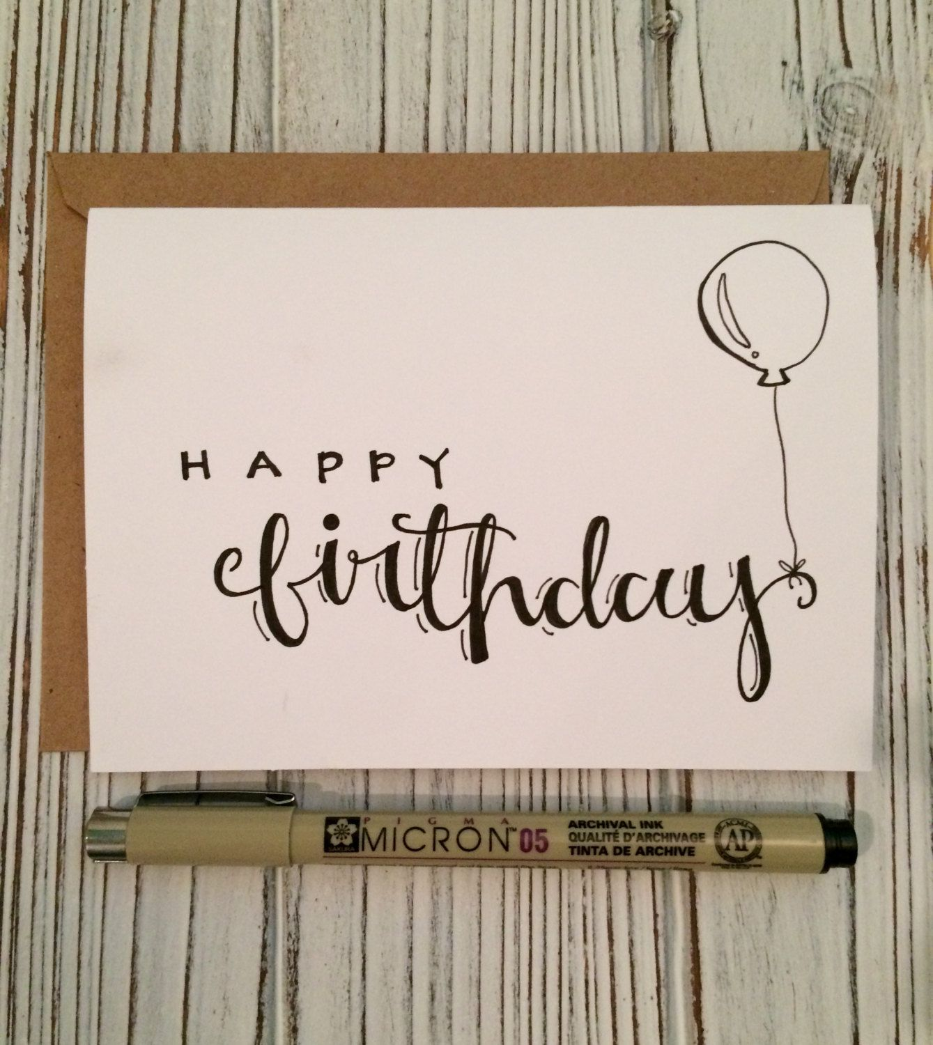 Hand Lettered Set Of 5 Happy Birthday Cards W Envelope