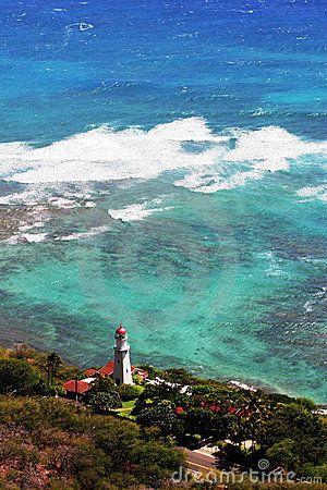 Photo of the Diamond Head Lighthouse  in Honolulu, Hawaii.