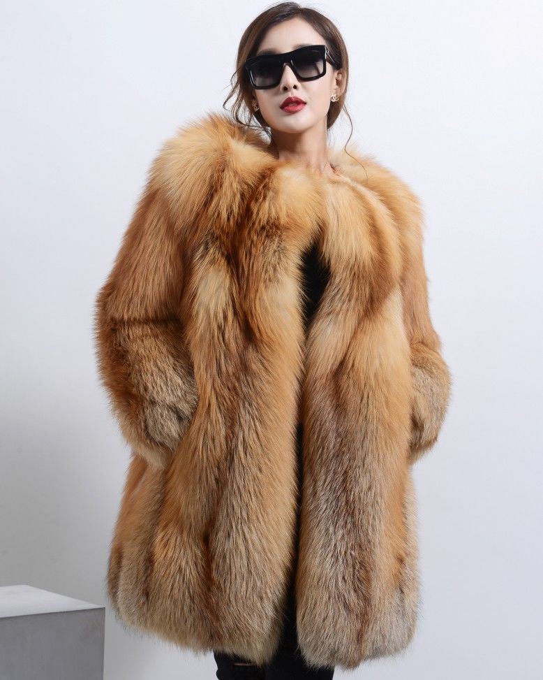 Details about Luxury Real Red Fox Fur Long Coat Heavy Fur Jacket ...
