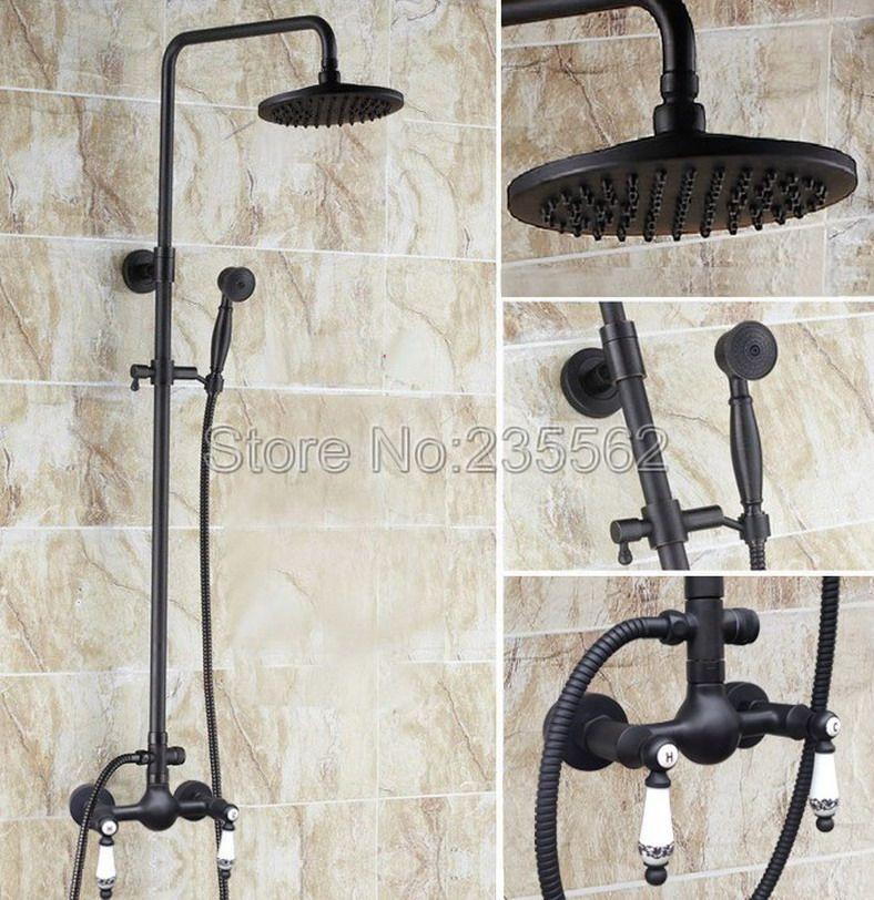 Black Oil Rubbed Bronze Bathroom Rain Shower Faucet Set Cold and Hot ...