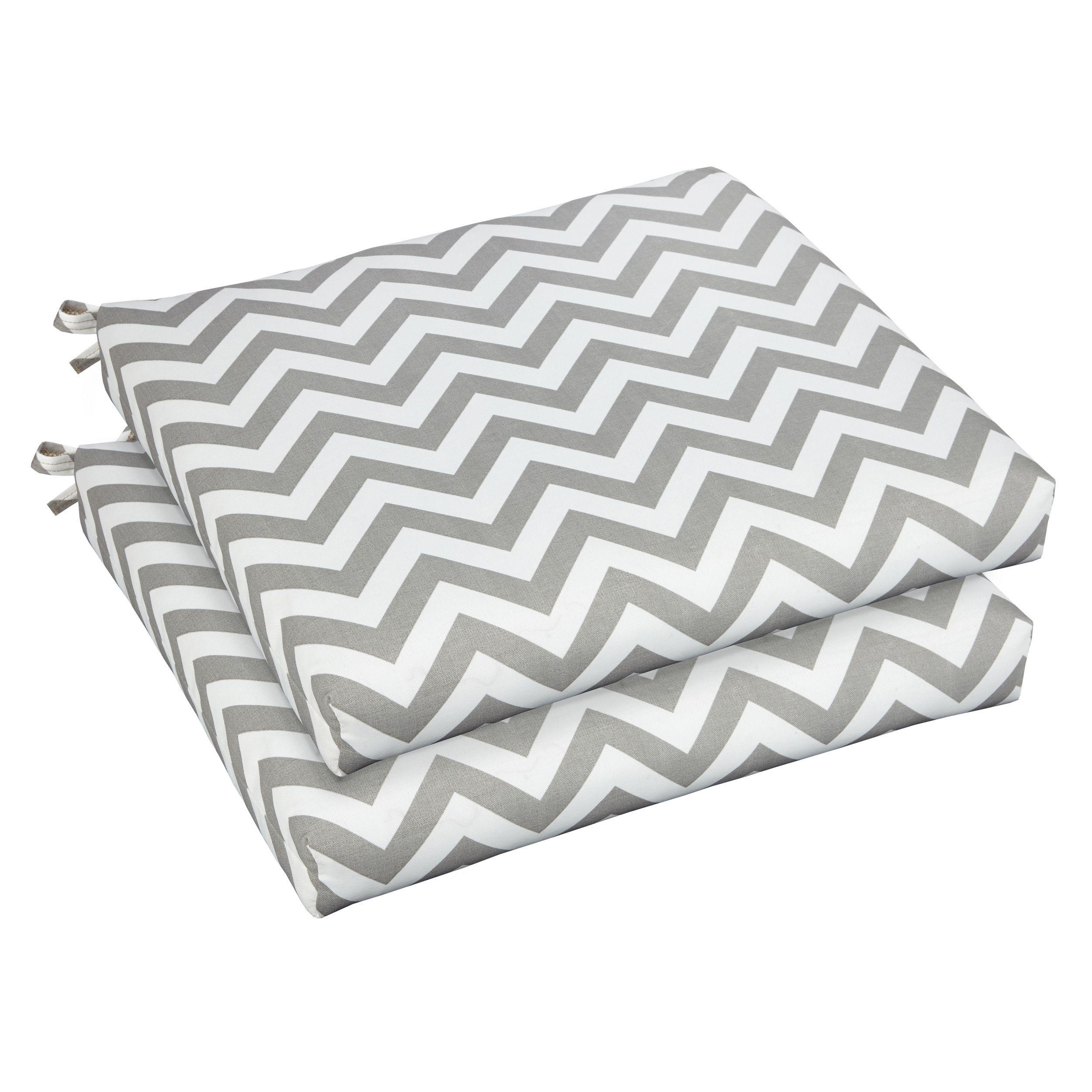 Bristol 19-inch Indoor/ Outdoor Chevron Grey Chair Cushion Set (OSCS2947) (Fabric), Outdoor Cushion