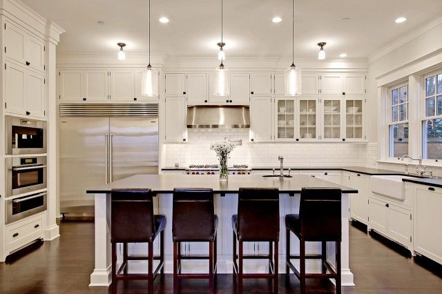White Kitchen Cabinets Design glass-front-kitchen-cabinets-black-white-kitchen-island-classy