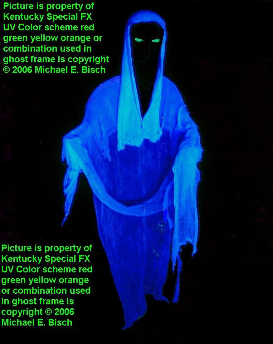 halloween faceless blue hooded black light floating ghost prop from wwwkentuckyspecialfxcom in