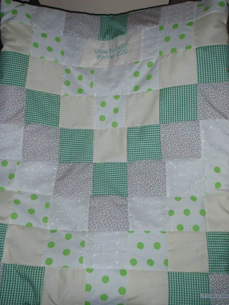 Boys personalised cot quilt
