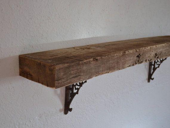 Thick shabby chic wood wall shelf barnwood 33 x 5 x 8