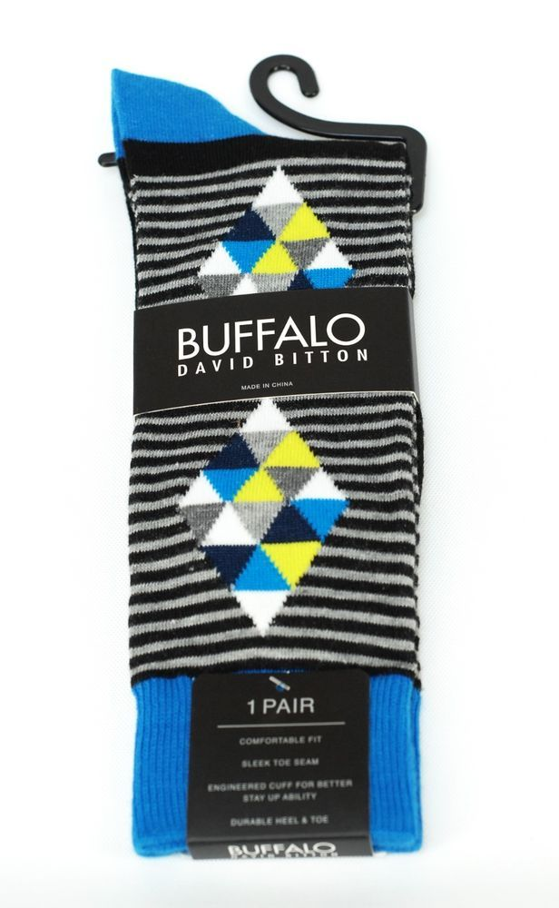 Buffalo David Britton Gray Blue Prism Stripe Colorful Socks - $18 Retail - New #BuffaloDavidBitton #Dress
