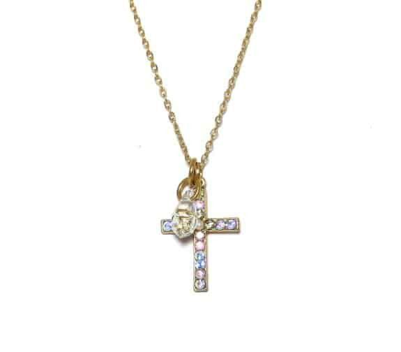 Mariana Gold Plated Swarovski Crystal Cross Pendant Necklace in Crystal Golden Shadow and Rose AB