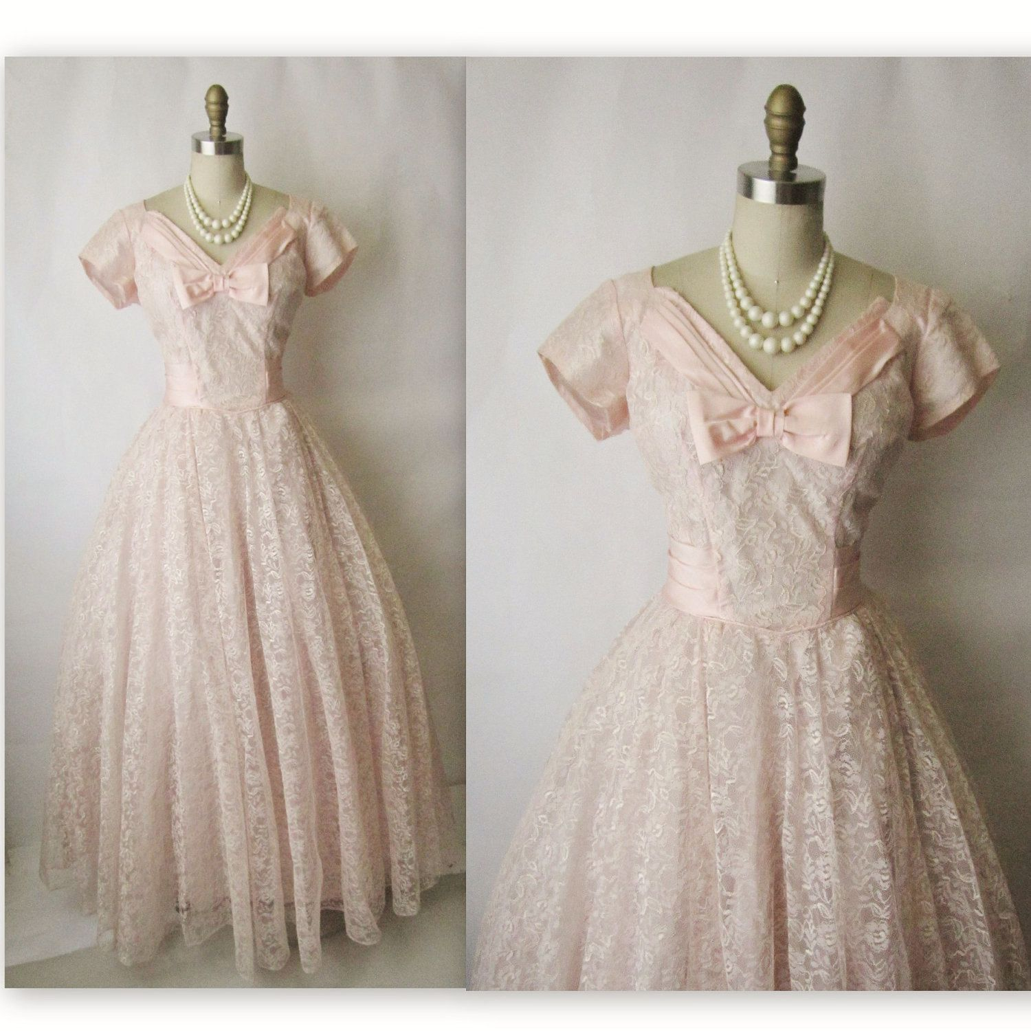 Wedding dresses fifties style  us Prom Dress  Vintage us Pink Lace Taffeta Wedding Party