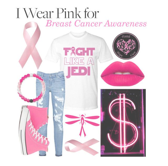 """I Wear Pink For: Breast Cancer Awareness"" by kitcat01 ❤ liked on Polyvore featuring Converse, Lokai and Lime Crime"