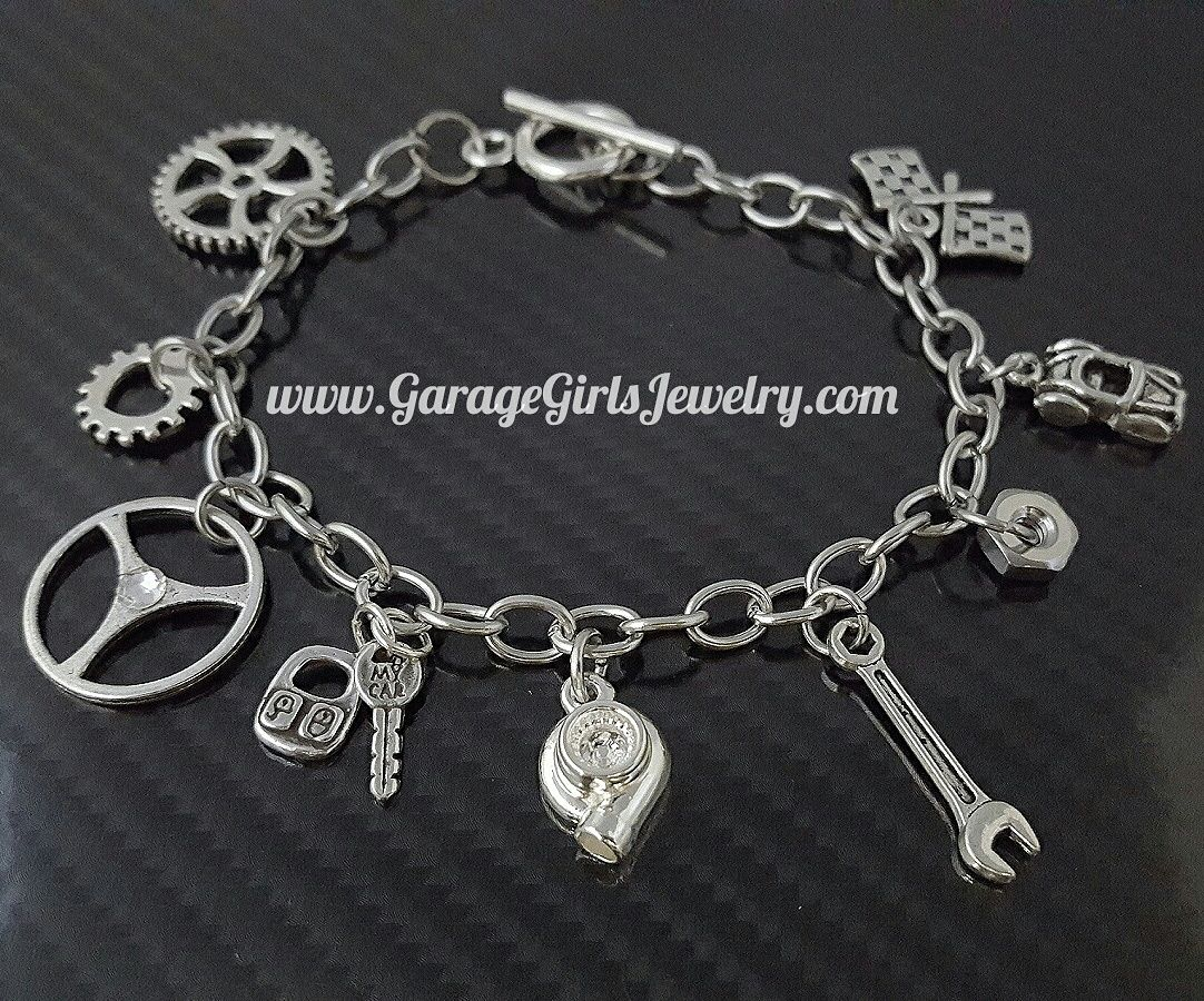 Car part charm bracelets garage girls jewelry girly wheels