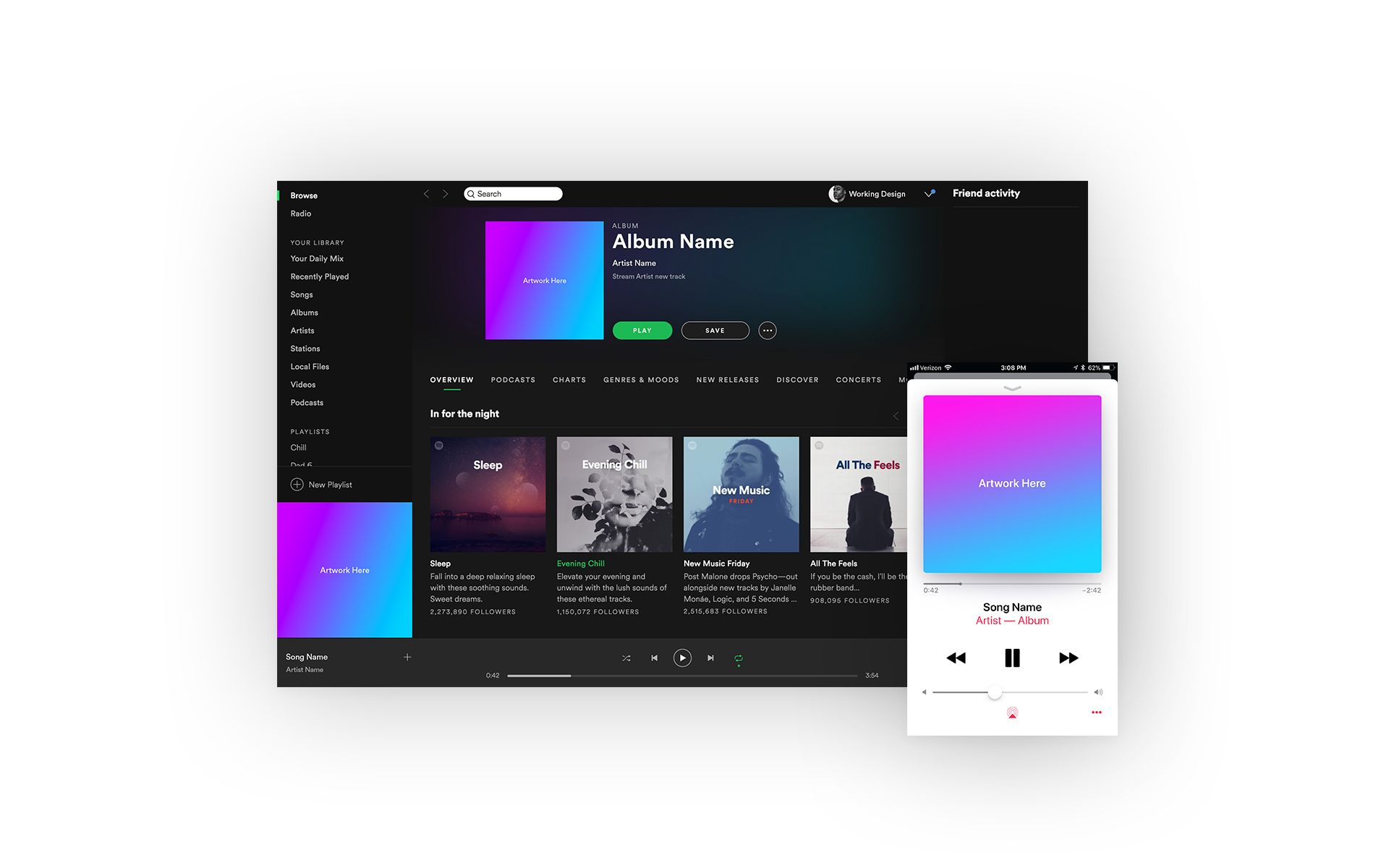 Free spotify apple music mockup on behance spotify