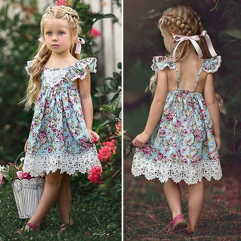 US Summer Baby Kids Girls Floral Sleeveless Princess Dress Party Wedding Clothes