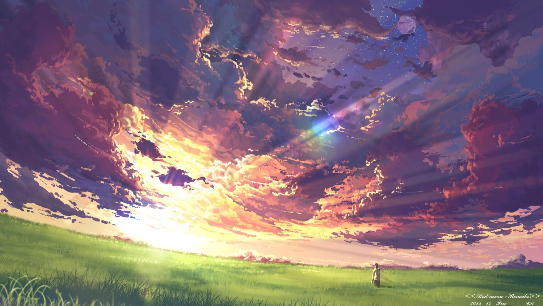 Clouds Grass Moon Original Scenic Sky Stars Sunset Yuuko San Konachan Net Konachan Com Anime Wall Anime Wallpaper 1920x1080 Scenery Wallpaper Anime Scenery