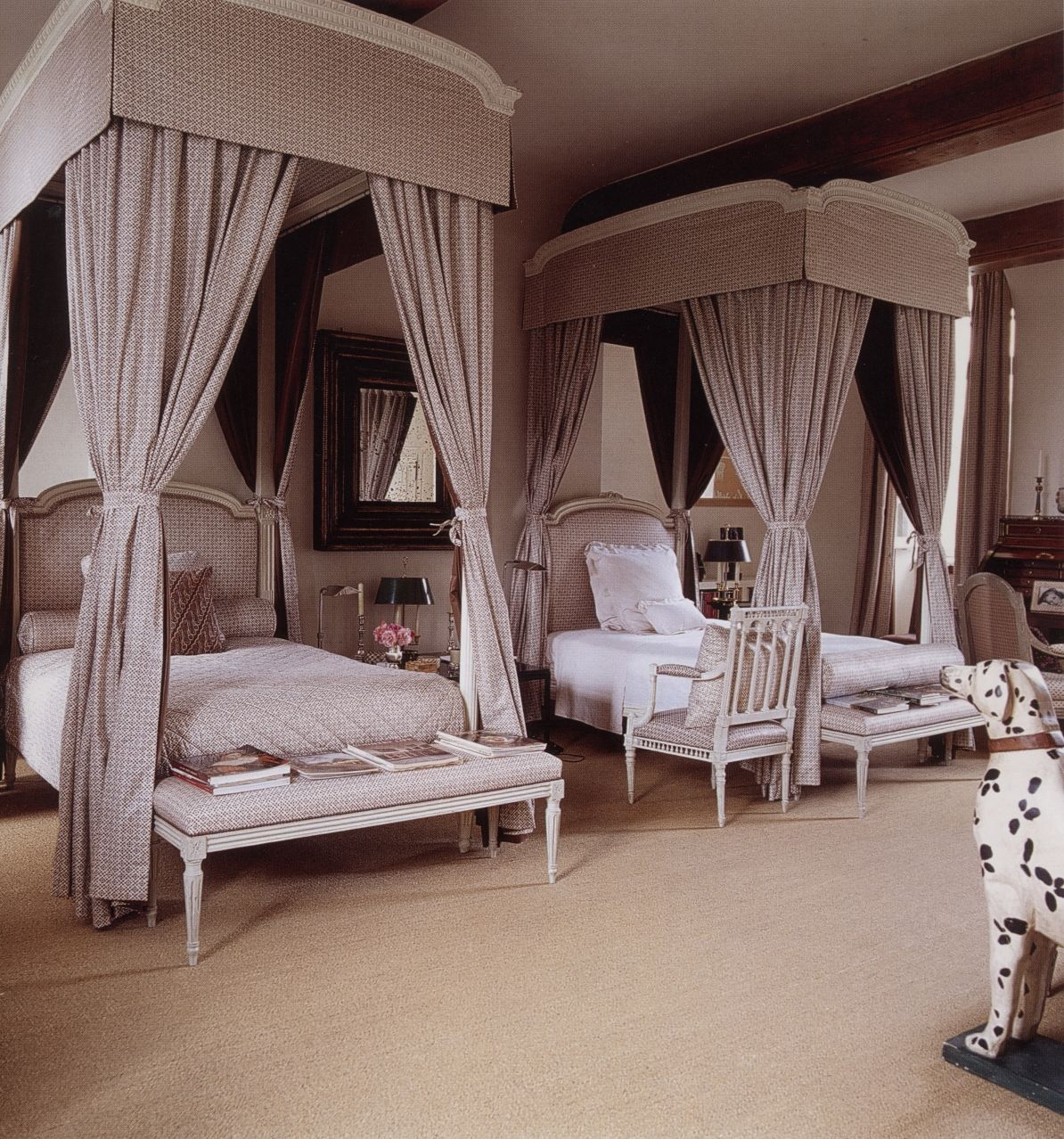 "Hubert de Givenchy - A guest bedroom at Château du Jonchet.  From the French book ""L'esprit des lieux"" by Christiane de Nicolaÿ-Mazery."