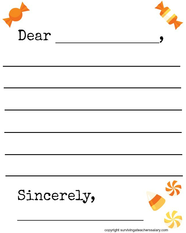 Free Fall Candy Themed Letter Template Printable Letter Writing Template Letter Template For Kids Writing Templates