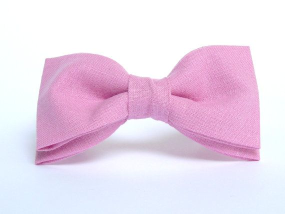 Men's Pink Linen Bow Tie by BartekDesign