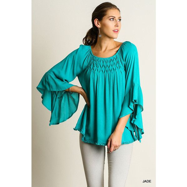 UmGee Bell Sleeve Top (61 BAM) ❤ liked on Polyvore featuring tops, jade, bell sleeve tops, lace detail top, flared sleeve top and blue top