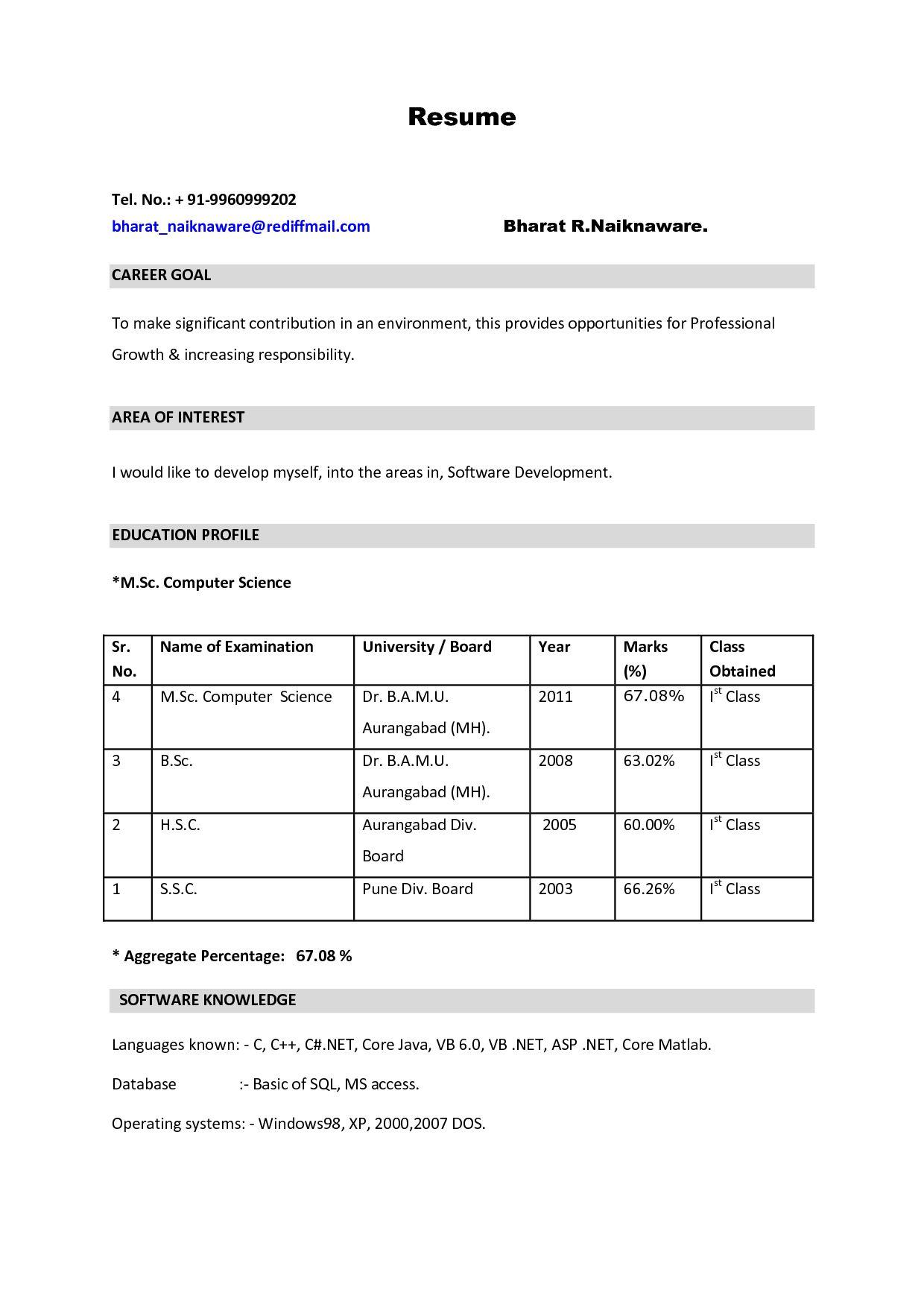 M Sc Nursing Resume format for freshers, New resume