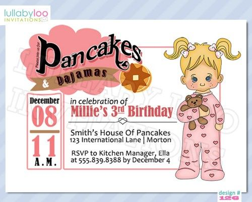 Pancakes and Pajamas Party Invitations 126 – Pancake Party Invitations