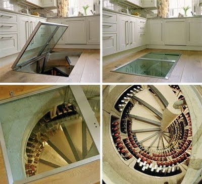 incredible spiral staircase, glass door wine cellar in ...
