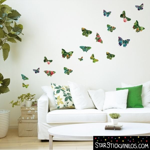 Vinilos decorativos mariposas tropicales vinilos for Vinilos pared valencia