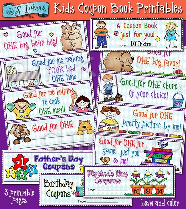 These cute printable coupon books are a perfect gift from the kids - fun voucher template