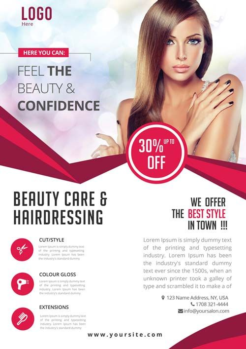 美容护理免费PSD传单模板 公司活動海報 Pinterest Free psd flyer - advertising flyer template