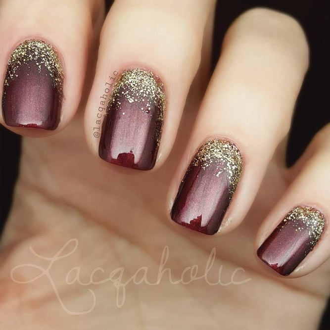 21 Amazing Ideas With Gold Glitter For Luxe Nails | Gold glitter ...