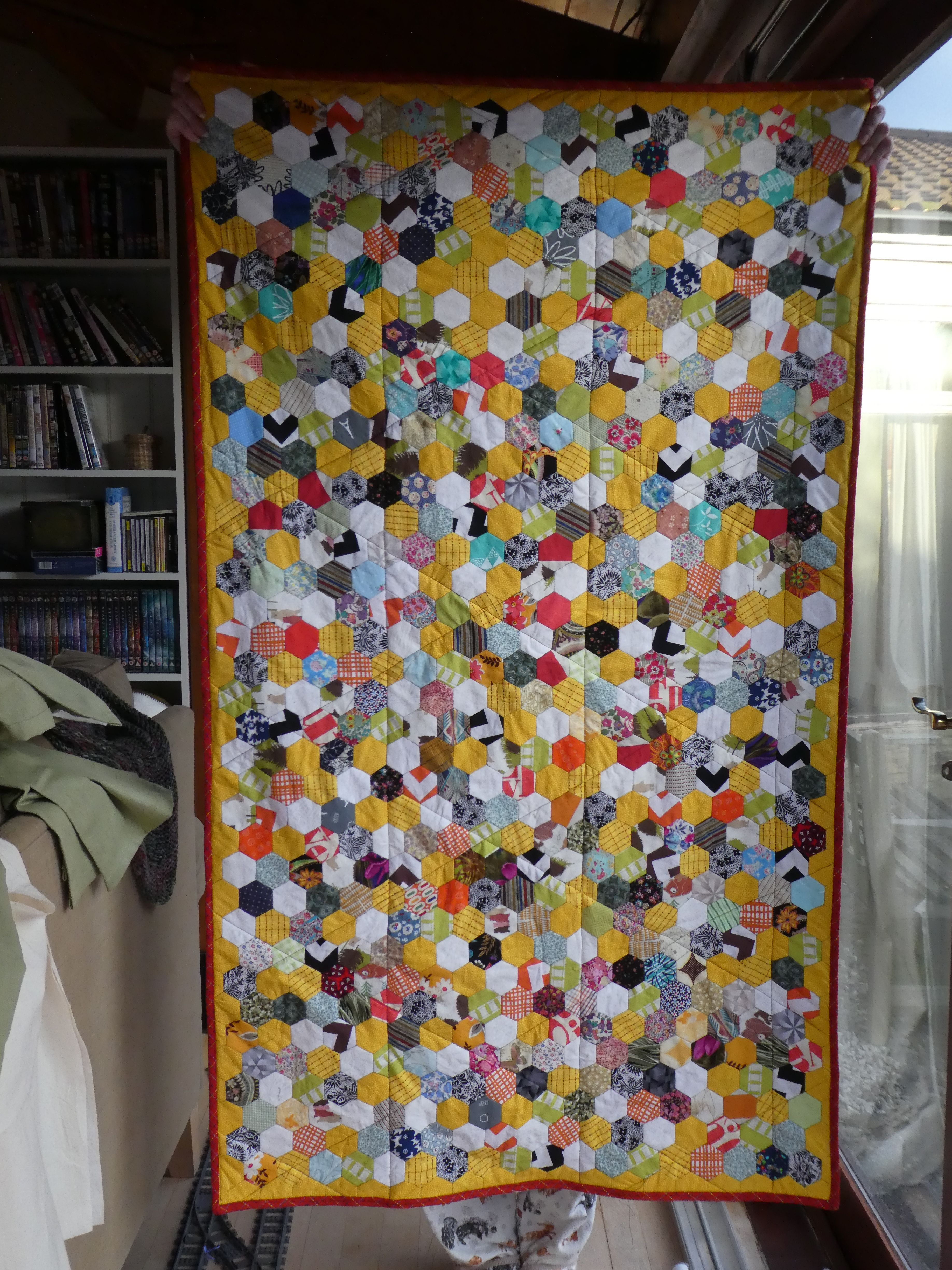 Quilt for Project Linus (front) 2017.  Hexies from scraps and leftovers.