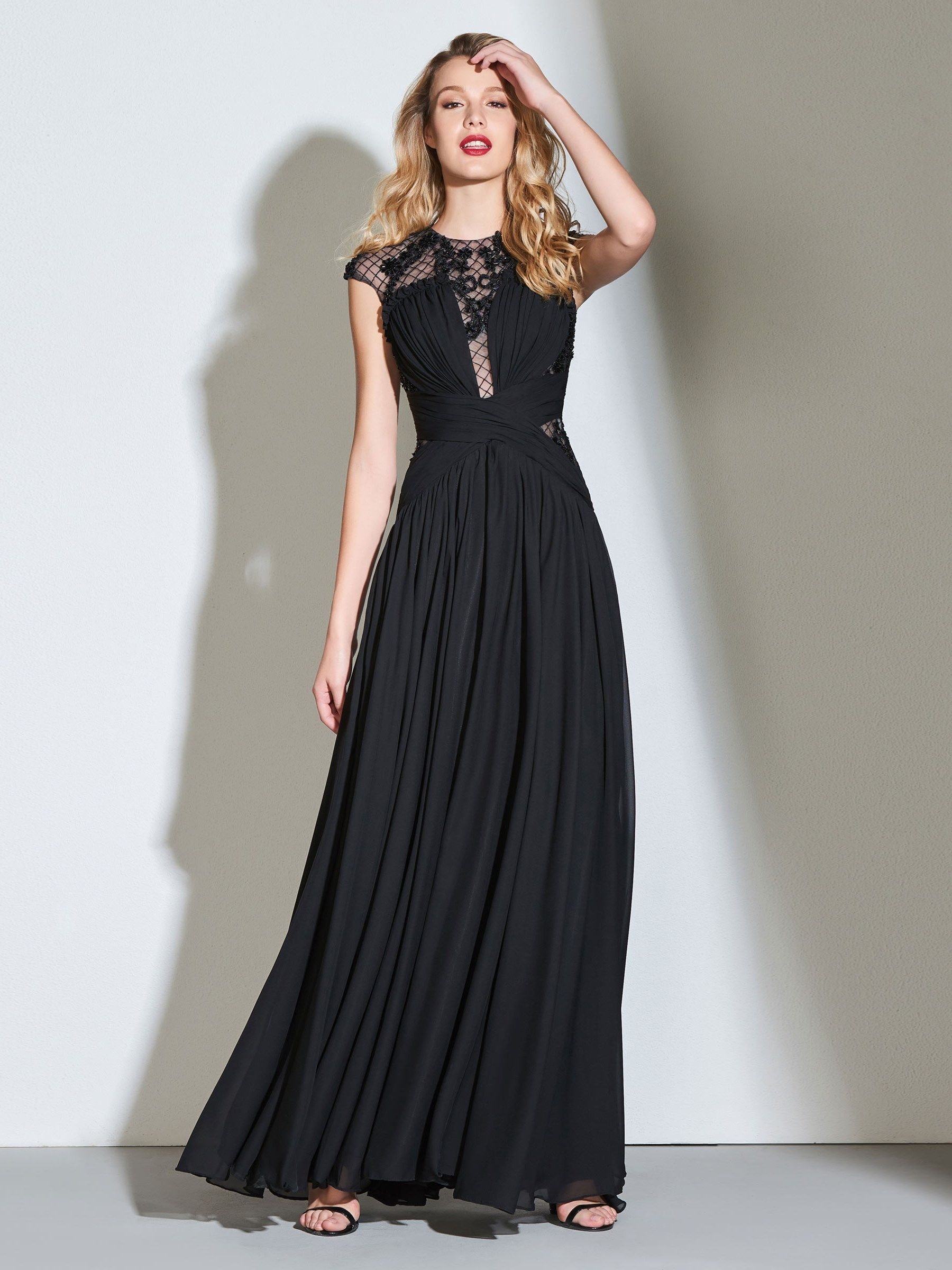 Aline jewel button appliques pleats evening dress in to the