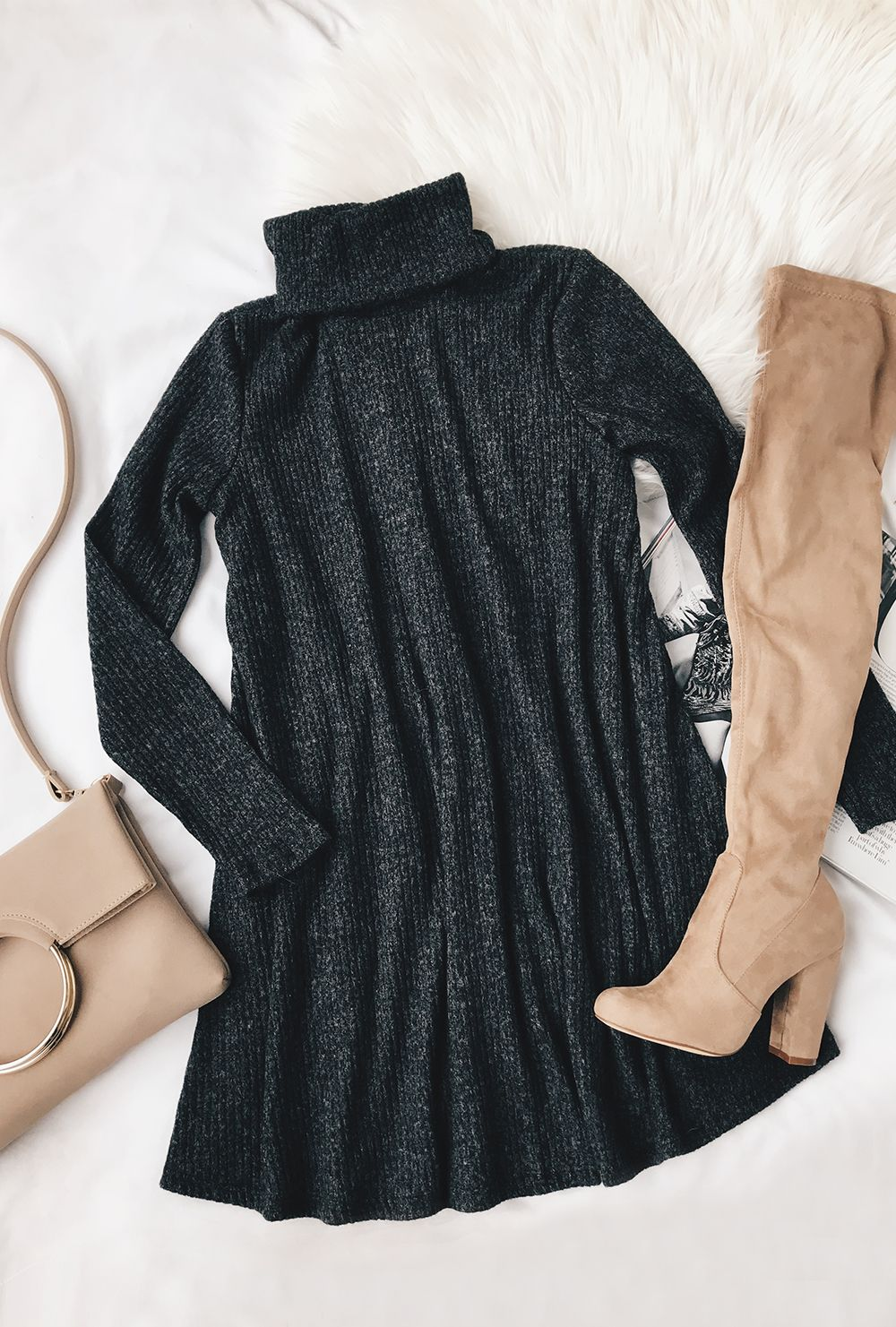 Cozy express dark heather grey long sleeve swing dress teen movies