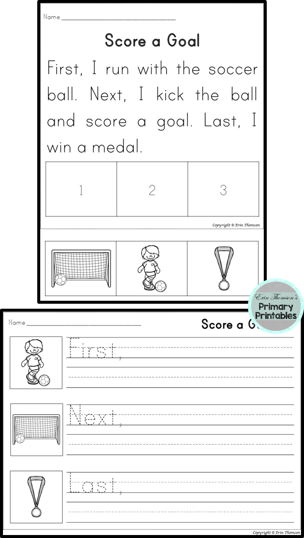 Sequencing Story First Next Last Team Sports Packet Reading Comprehension Kindergarten Sequence Writing Writing Rubric