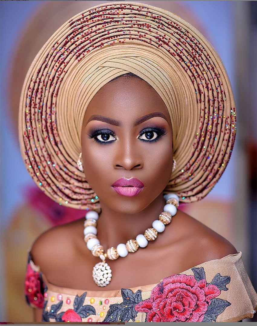 pretied auto gele in various colors new without tag elegant Embelished